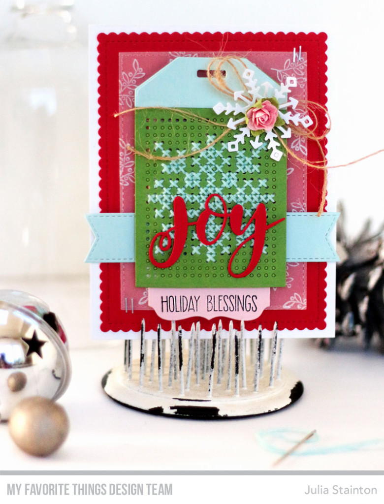 Cross-stitch Tag Christmas Card by Julia Stainton featuring MFT Stamps