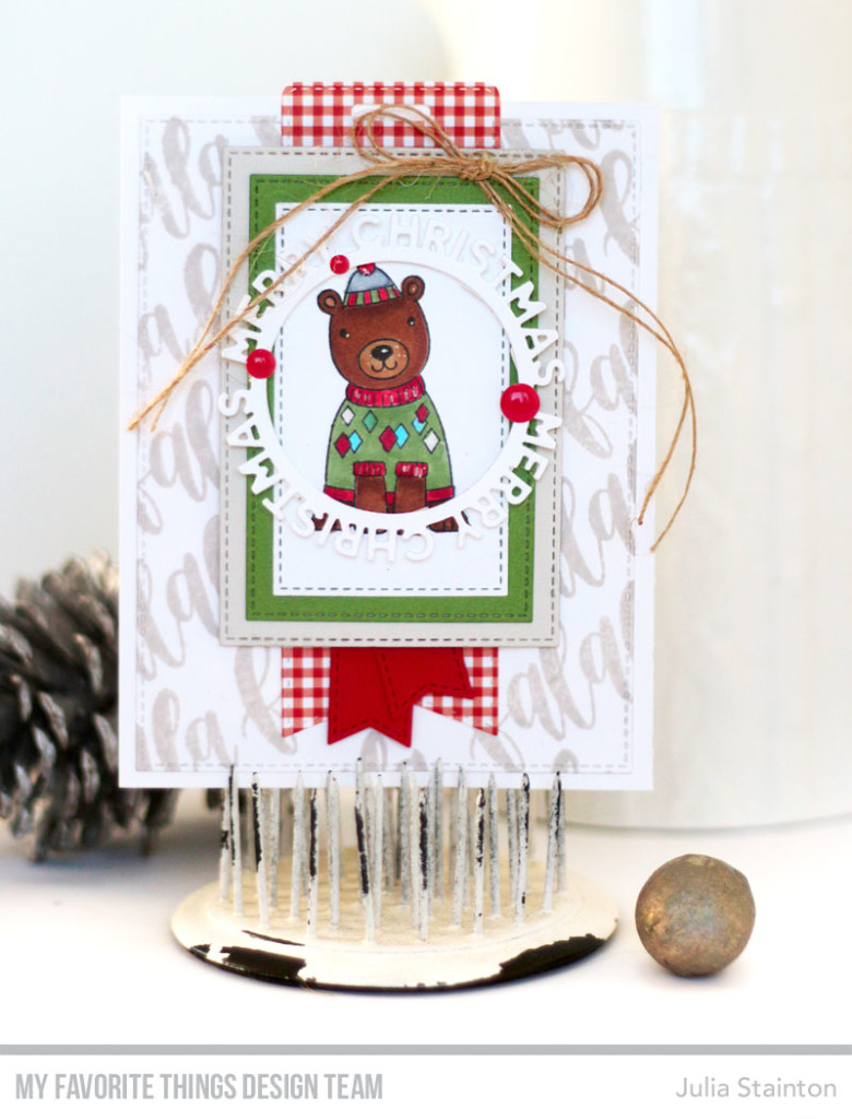 Beary Merry Christmas Card by Julia Stainton featuring MFT Stamps