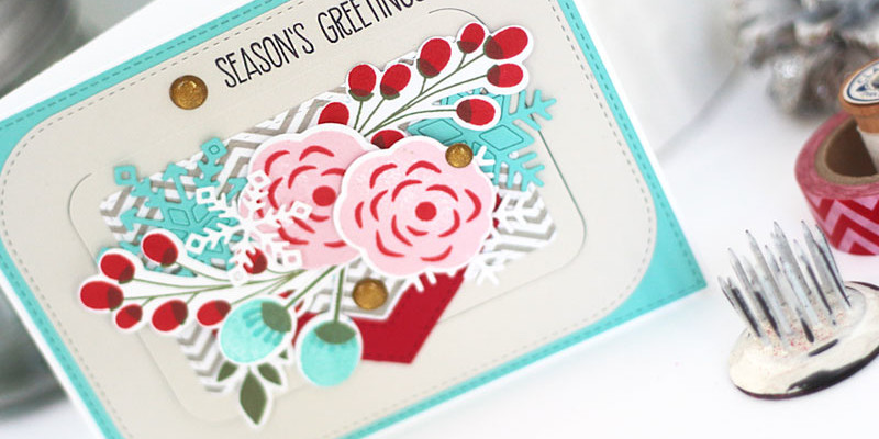 Foral Seasons Greetings Card with Gift Card Holder by Julia Stainton featuring MFT Stamps