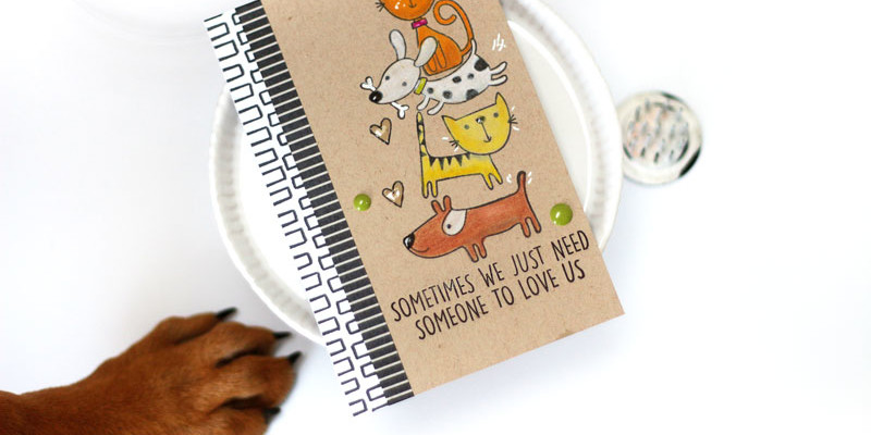Good Friends Dog Card by Julia Stainton featuring Ellen Hutson LLC & MFT Stamps