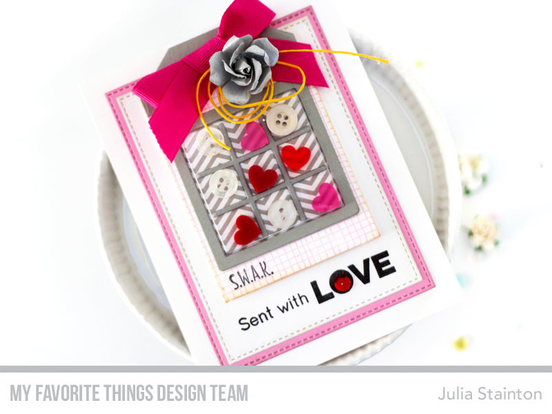 X's and O's Sent with Love Card by Julia Stainton featuring MFT Stamps