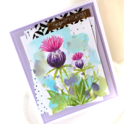 Thistle Card… Mixed Media Stamping
