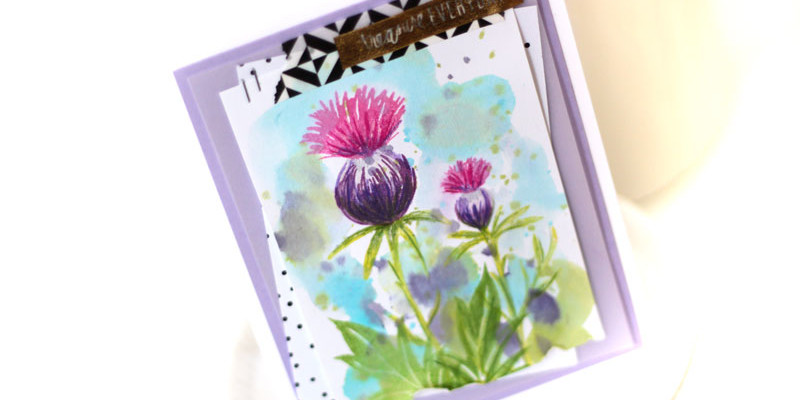 Thistle Card by Julia Stainton featuring mixed stamping techniques and featuring Ellen Hutson LLC