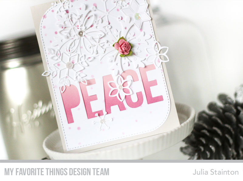 Pink Snow Peace Card by Julia Stainton featuring MFT Stamps