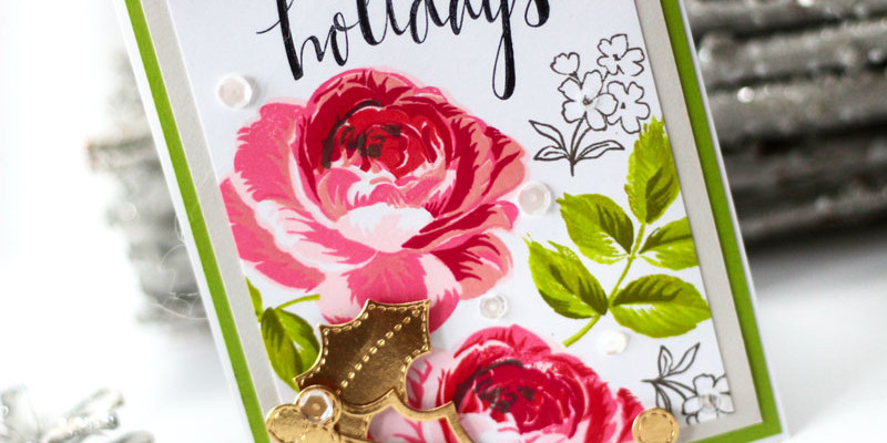 Happy Holidays Build a Rose Card by Julia Stainton
