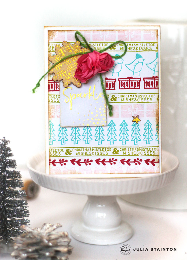 Sparkle Stamped Christmas Card by Julia Stainton featuring Pinkfresh Studio