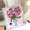 Valentine Heart Bouquet Stamped Card by Julia Stainton featuring Pinkfresh Studio